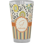 Swirls, Floral & Stripes Drinking / Pint Glass (Personalized)