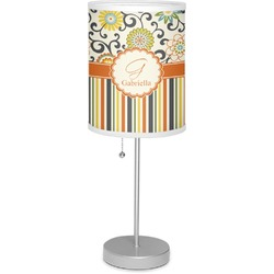 """Swirls, Floral & Stripes 7"""" Drum Lamp with Shade (Personalized)"""