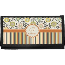 Swirls, Floral & Stripes Canvas Checkbook Cover (Personalized)