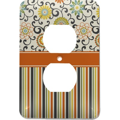 Swirls, Floral & Stripes Electric Outlet Plate (Personalized)
