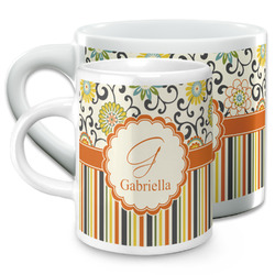 Swirls, Floral & Stripes Espresso Cups (Personalized)