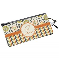 Swirls, Floral & Stripes Genuine Leather Eyeglass Case (Personalized)