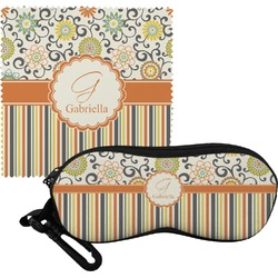 Swirls, Floral & Stripes Eyeglass Case & Cloth (Personalized)