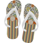 Swirls, Floral & Stripes Flip Flops (Personalized)