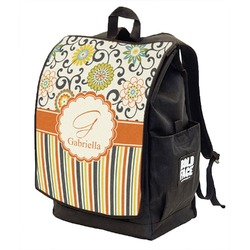 Swirls, Floral & Stripes Backpack w/ Front Flap  (Personalized)