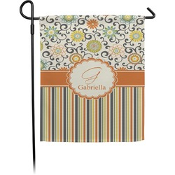Swirls, Floral & Stripes Garden Flag (Personalized)
