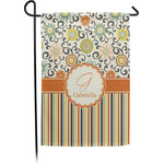 Swirls, Floral & Stripes Garden Flag - Single or Double Sided (Personalized)
