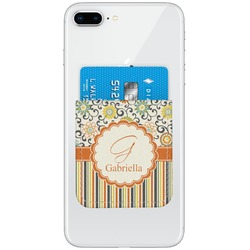 Swirls, Floral & Stripes Genuine Leather Adhesive Phone Wallet (Personalized)