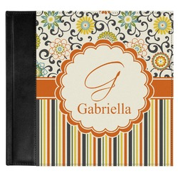 Swirls, Floral & Stripes Genuine Leather Baby Memory Book (Personalized)