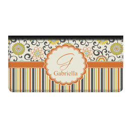 Swirls, Floral & Stripes Genuine Leather Checkbook Cover (Personalized)