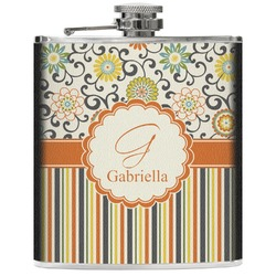 Swirls, Floral & Stripes Genuine Leather Flask (Personalized)