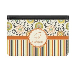Swirls, Floral & Stripes Genuine Leather ID & Card Wallet - Slim Style (Personalized)
