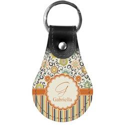 Swirls, Floral & Stripes Genuine Leather  Keychains (Personalized)