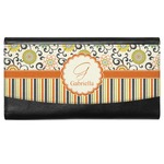 Swirls, Floral & Stripes Genuine Leather Ladies Wallet (Personalized)