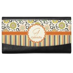 Swirls, Floral & Stripes Genuine Leather Ladies Wallet (Personalized)