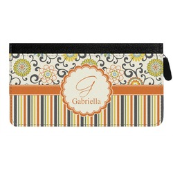 Swirls, Floral & Stripes Genuine Leather Ladies Zippered Wallet (Personalized)