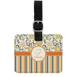 Swirls, Floral & Stripes Genuine Leather Luggage Tag w/ Name and Initial