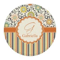 Swirls, Floral & Stripes Round Desk Weight - Genuine Leather  (Personalized)