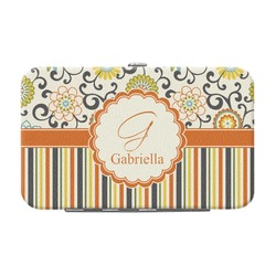 Swirls, Floral & Stripes Genuine Leather Small Framed Wallet (Personalized)