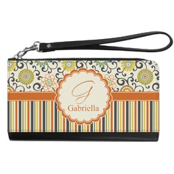 Swirls, Floral & Stripes Genuine Leather Smartphone Wrist Wallet (Personalized)