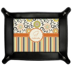 Swirls, Floral & Stripes Genuine Leather Valet Tray (Personalized)