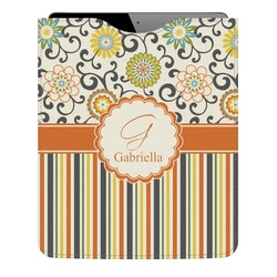 Swirls, Floral & Stripes Genuine Leather iPad Sleeve (Personalized)