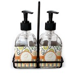 Swirls, Floral & Stripes Soap & Lotion Dispenser Set (Glass) (Personalized)