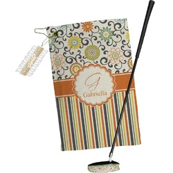 Swirls, Floral & Stripes Golf Towel Gift Set (Personalized)