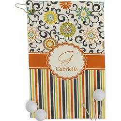 Swirls, Floral & Stripes Golf Towel - Full Print (Personalized)