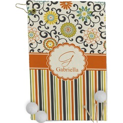 Swirls, Floral & Stripes Golf Towel - Full Print (Personalized)