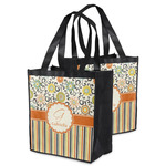 Swirls, Floral & Stripes Grocery Bag (Personalized)