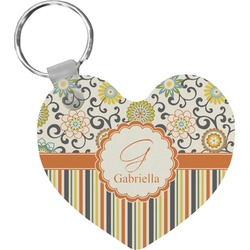 Swirls, Floral & Stripes Heart Keychain (Personalized)