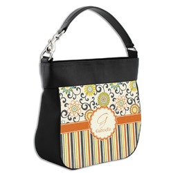 Swirls, Floral & Stripes Hobo Purse w/ Genuine Leather Trim (Personalized)