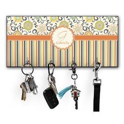 Swirls, Floral & Stripes Key Hanger w/ 4 Hooks (Personalized)