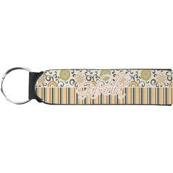 Swirls, Floral & Stripes Neoprene Keychain Fob (Personalized)
