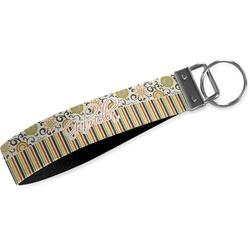 Swirls, Floral & Stripes Wristlet Webbing Keychain Fob (Personalized)