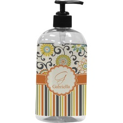 Swirls, Floral & Stripes Plastic Soap / Lotion Dispenser (Personalized)