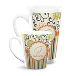 Swirls, Floral & Stripes Latte Mug (Personalized)