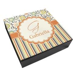 Swirls, Floral & Stripes Leatherette Keepsake Box - 3 Sizes (Personalized)