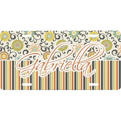 Swirls, Floral & Stripes Front License Plate (Personalized)