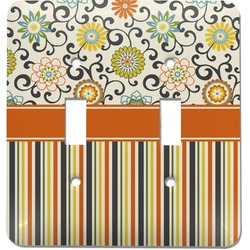 Swirls, Floral & Stripes Light Switch Cover (2 Toggle Plate) (Personalized)