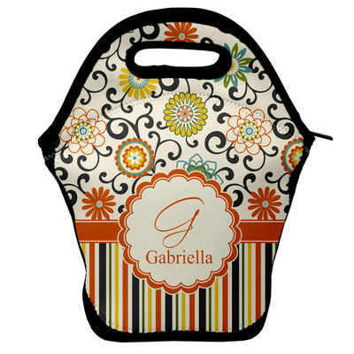 Swirls, Floral & Stripes Lunch Bag (Personalized)