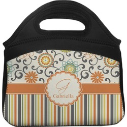 Swirls, Floral & Stripes Lunch Tote (Personalized)