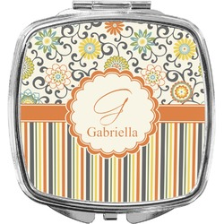 Swirls, Floral & Stripes Compact Makeup Mirror (Personalized)