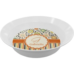 Swirls, Floral & Stripes Melamine Bowl (Personalized)