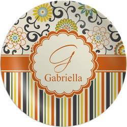 "Swirls, Floral & Stripes Melamine Plate - 8"" (Personalized)"