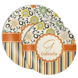 Swirls, Floral & Stripes Melamine Plate (Personalized)