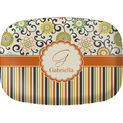 Swirls, Floral & Stripes Melamine Platter (Personalized)