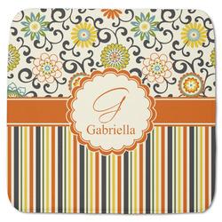 "Swirls, Floral & Stripes Memory Foam Bath Mat - 48""x48"" (Personalized)"
