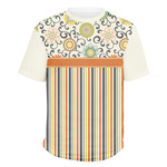 Swirls, Floral & Stripes Men's Crew T-Shirt (Personalized)